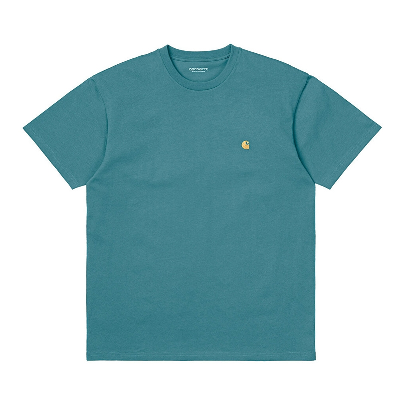 Carhartt WIP S/S Chase T-shirt Hydro/Gold I026391.0AC.90.03